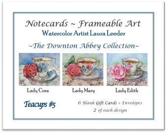 Downton Abbey Collection #5 - 6 Blank Notecards, Party Favors