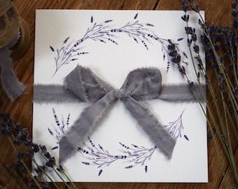 Lavender Wedding Invitation, folded wedding invitation