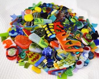 Mosaic Bits & Pieces, 400 + Fused Glass Scraps, Bright Handmade Glass Bits