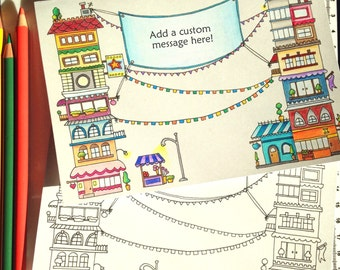 Tall Buildings Coloring Card with a custom message, 5x7