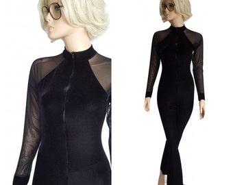 90s Velvet Jumpsuit • Vintage Black Sheer Mesh Catsuit Romper