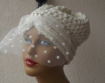 knit beret bridal knit beanie knit tulle beret slouchy tulle hat accessories knit tulle beret christmas gift