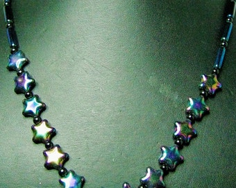 Black Iridescent Star Beaded Necklace with Iridescent Tube Accent Beads - Item 325