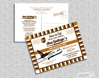 Printable Airplane Retirement Invitation Post Card/ FILE ONLY