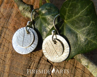 Sterling Silver Leaf Pressed Disk Earrings. textured dangle circles hammered design handmade light simple modern shiny patina Metalsmith