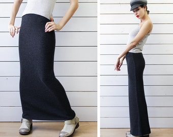 90s vintage dark grey rib knit wool fitted high waist floor length maxi skirt S M