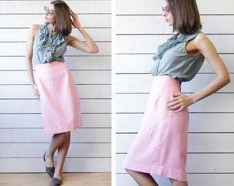 JACQUES FATH Vintage rose pink linen viscose knee length high waist pencil midi skirt Size M L