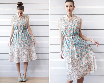 Vintage white blue floral print knee length belted sleeveless simple day dress L