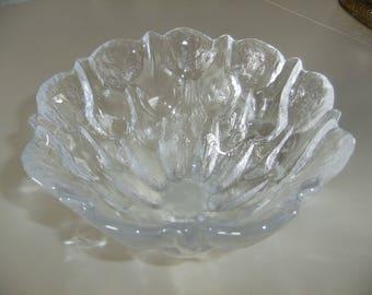 Vintage Swedish glass bowl - Tulips in relief - Skruf glass
