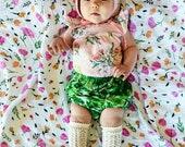 Baby Kids High Waisted Bloomers - Green Leaf Print