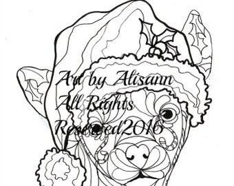 Christmas Chihuahua - Love Dogs - Digital PDF Download - Coloring Books for Adults