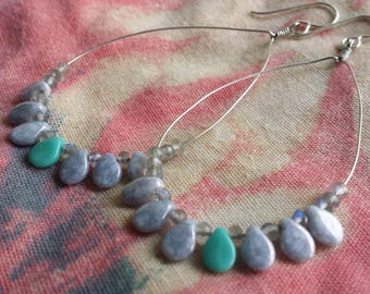 Tear Drop Silver Labradorite and Turquoise Earrings