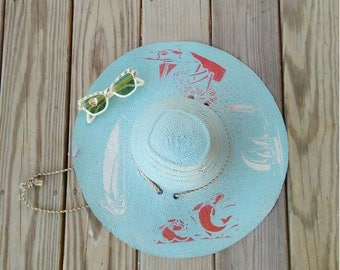 20% OFF / Sail Away with Me 1940s Sky Blue Painted Sun Hat with Red/White Fish/Sailboat/Tropical Scene