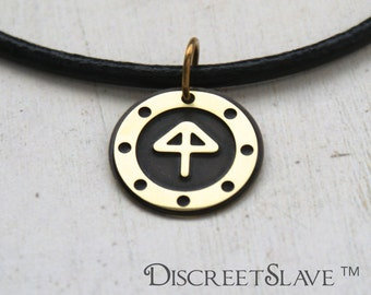 Brass slave pendant porthole window style. Gender fluid . Day collar For slaves, submissives and owned persons in a BDSM relationship