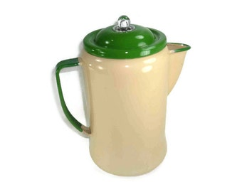 Vintage Enamelware Coffee Pot Beige with Green Trim Chippy
