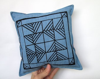 Handmade Screen Printed Pillow with Quilt Square Drawing Blue Jean Denim Plaid