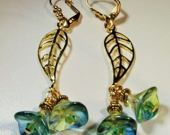 Earrings Handmade Green Blue Czech Glass Flowers Crystals Gold Filigree Leaves Unique Spring Summer Forest Runway Long Elegant Boho Exotic