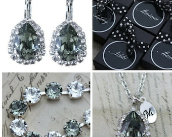 Gray Jewelry Set Necklace Earrings Bracelet Set Black Diamond Maid Of Honor Gift Mother of Bride Gift Mother of Groom Clip On Earrings Avail