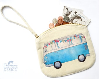 Campervan Canvas Zip Purse, Makeup Bag, Coin Purse, Small Accessory Pouch