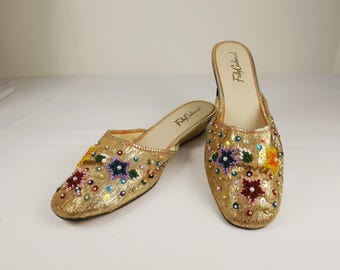Gold Lame Beaded Mules Size 8M