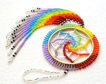 Rainbow Beaded Dreamcatcher - Authentic Native American