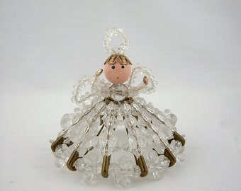 Vintage Holiday Decoration Beaded Angel, Safety Pin Doll, Christmas Decor, Ornament
