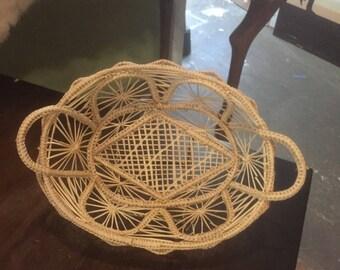 Vintage openwork woven weaving handled basket dish wicker rattan wall decor free shipping boho bohemian