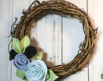 Mini Felt Flower Wreath || Floral Wreath || Nursery Decoration || Home Decor || 8 Inch Wreath || Light Blue & Navy