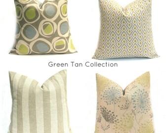 GREEN PILLOW, Decorative Pillow Linen Pillow, Pillow Covers Tan Pillow  Cushion Covers - Sofa PillowPillow sham  Home decor - Accent Pillow