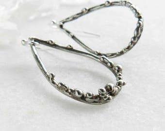 bubble hoops, bubble earrings, silver earrings, silver hoops, mermaid, hand carved, gifts for her, beach jewelry