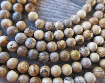 """6mm Picture Jasper round beads full strand 15.25"""" (63 beads) beautiful marbled earth tones of cream, tan and browns mala bead"""