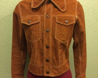 1960s Caramel Suede Cropped Jacket snap sz xs/s