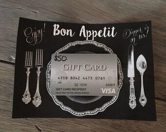 Bon Appetit Gift Card Holder- Dinner Gift Card Holder-Dinner Gift Card Printable-Gift Card Printable-food gift card