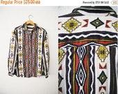 Bringing Home Baby SALE: Vintage Aztec Tribal Batik Print Fleece Blouse Button up Top Shirt / Bold / Colorful / Boho Bohemian Hippie