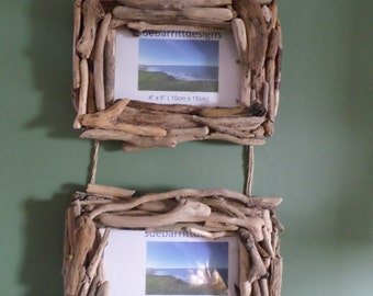 double driftwood picture frames 6 x 4 15cmx10cm