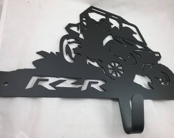 Metal Polaris RZR Wall Rack /  with 3 Hooks - Side by Side, Custom Designed