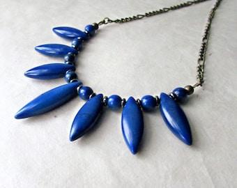 Blue Gemstone Bib, Blue Gemstone Fan Necklace, Marquise Necklace, Lapis Blue Stones,  Royal Blue Necklace, Geometric Spike Necklace