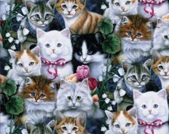 Cat Fabric - Valentine's Kitties - Cotton Fabric - David Textiles - CAT-05