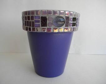 Purple Mosaic Planter, Gift for Gardener, Plant Lover Gift, Herb Planter, Mosaic Garden Art, Purple Decor, Succulent Planter, Hostess Gift