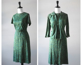 Lovely 1960s Vintage Green and Blue Confetti Atomic Print Ladies Dress & Jacket Set ~ As Is