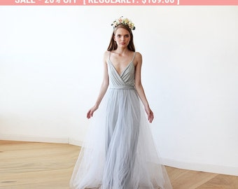 20% OFF Light Gray tulle maxi dress, Fairy tulle maxi dress , Bridesmaids straps maxi gown 1053