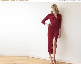 30% OFF - Blush Birthday Bordeaux Formal maxi wrap dress with long sleeves , Wrap tulip Bordeaux gown 1034