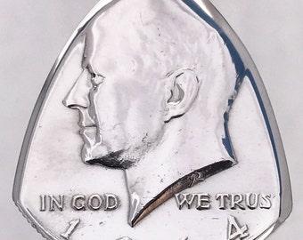 Coin Guitar Pick 1964 John F. Kennedy Silver Half Dollar 90% Silver