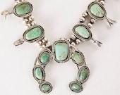 RESERVED FOR LIZ - Vintage Squash Blossom - Vintage 1960's Sterling Silver Turquoise Squash Blossom