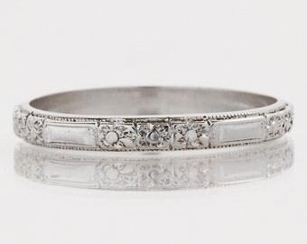 Antique Wedding Band - Antique 18k White Gold Floral Design Wedding Band