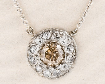 Antique Necklace - Antique 14k White Gold Diamond Halo Conversion Necklace