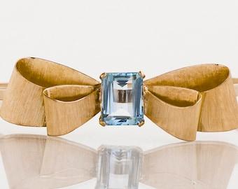 Vintage Bracelet - Vintage 14k Yellow Gold Aquamarine Bow Bangle Bracelet
