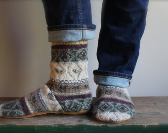 Women's Felted Wool Slippers/Cottage Socks with Leather Sole