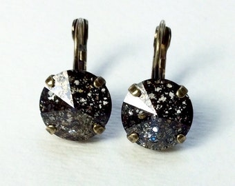 Swarovski Crystal 12MM Drop Earrings Classy & Feminine - Black Patina - Or Choose Your Favorite Color and Finish - FREE SHIPPING