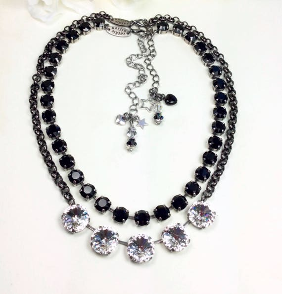 Swarovski Crystal 14MM  Five Stone, Clear Crystal Necklace with Black Rolo Chain & Swarovski Jet Necklace- Designer Inspired - FREE SHIPPING